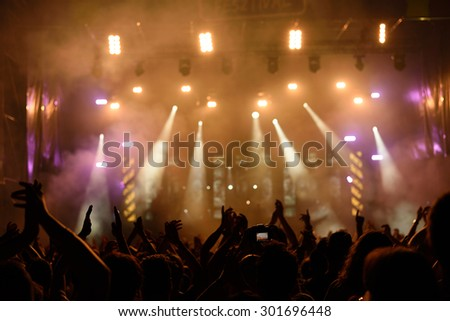 Photo of concert crowd in front of bright stage lights, detail