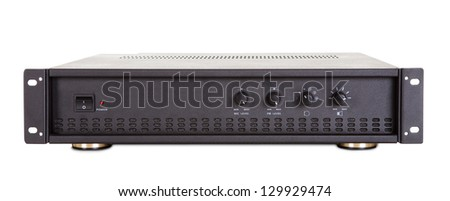 Photo of conference amplifier. Isolated on white background - stock photo