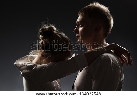 Photo of conflict and emotional stress in young people couple relationship - stock photo
