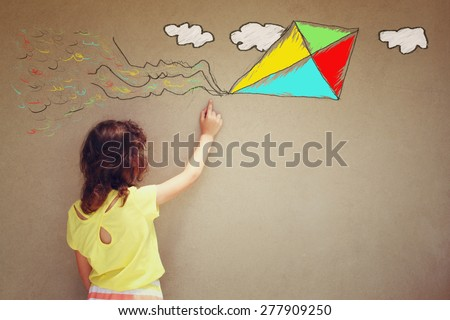 Photo of cute kid imagine flying kite. set of infographics over textured wall background  - stock photo