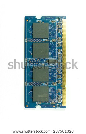 Photo of DDR RAM memory module isolated on white background - stock photo