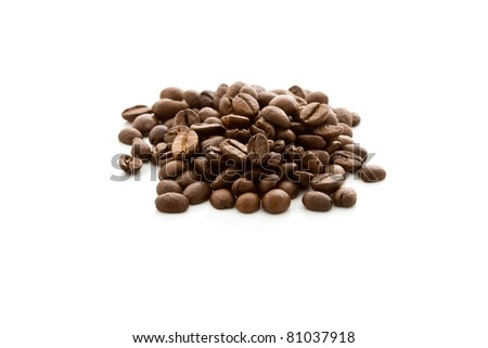 photo of delicious coffee beans on white isolated background