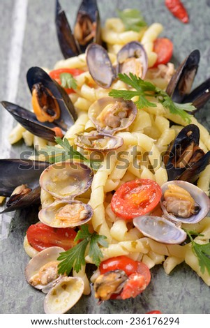 photo of delicious pasta with clams and mussel - stock photo