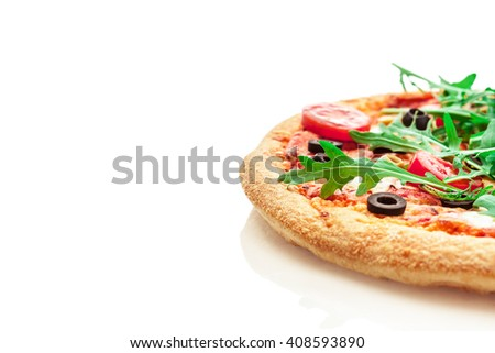 Photo of delicious pizza with rucola over white isolated background
