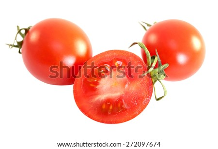 photo of delicious small red tomatoes isolated on white background - stock photo