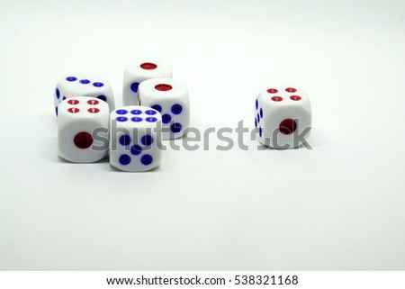 Photo of dices on a white background