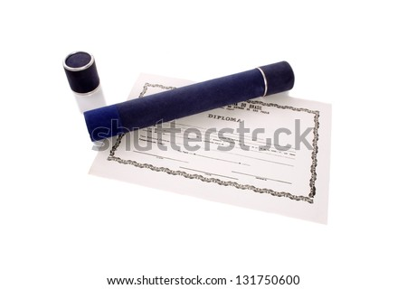 Photo of Diploma and tube - stock photo