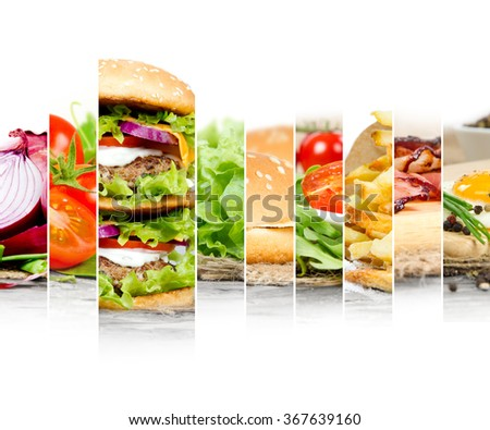 Photo of double hamburger mix with ingredients and white space for text - stock photo