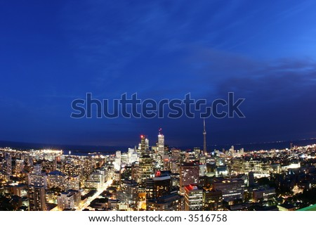 photo of downtown in Toronto, canada (night panorama) - stock photo