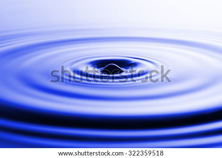 Photo of drop of water on blue background
