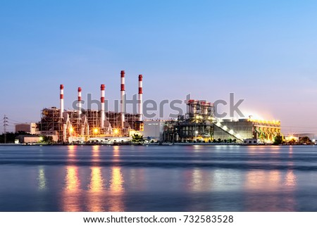Photo of Electricity power plant in sunset time.