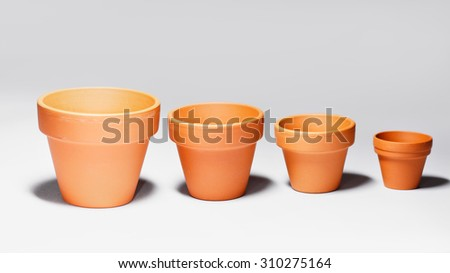 Photo of empty clay plant or flower pots - stock photo