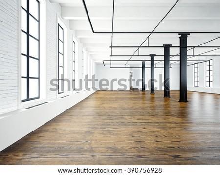 Photo of empty interior in modern building.Open space loft. Empty white walls. Wood floor, black beams,big windows. Horizontal, blank mockup. 3d rendering - stock photo