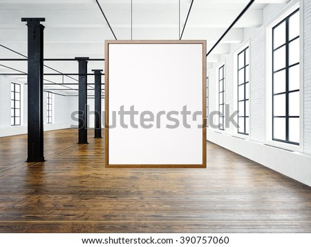 Photo of empty interior in modern loft. Open space loft.Empty white canvas hanging on the wood frame. Wood floor, bricks wall,big windows, black beams. Horizontal, blank mockup. 3d rendering - stock photo