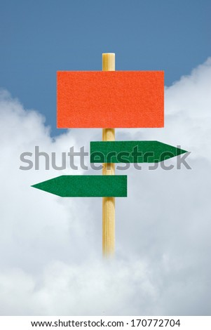 Photo of Empty Signpost Against Sky vertical - stock photo