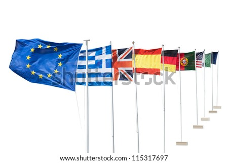 Photo of european flags. Isolated on white