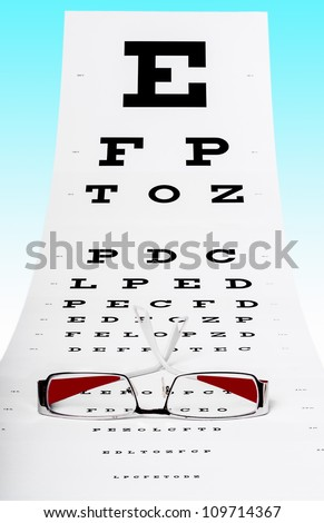 Photo of eye test chart and spectacles on a blue background