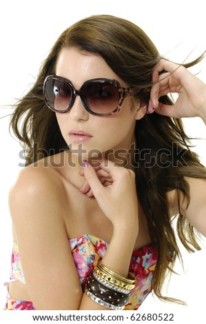 photo of fashion blond girl wears sunglasses - stock photo