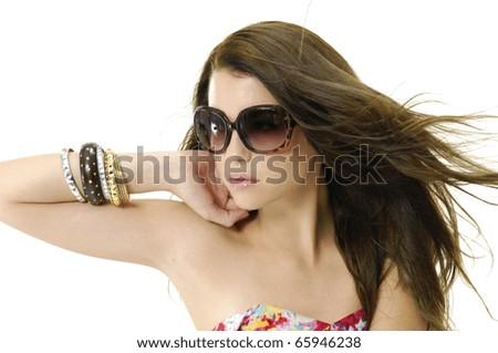 photo of fashion sexy blond girl wears sunglasses - stock photo
