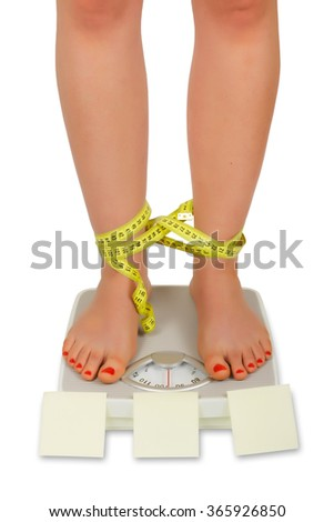 Photo of female foot on bathroom scale tied with tape meter isolated on white background. Empty space for Your text. - stock photo