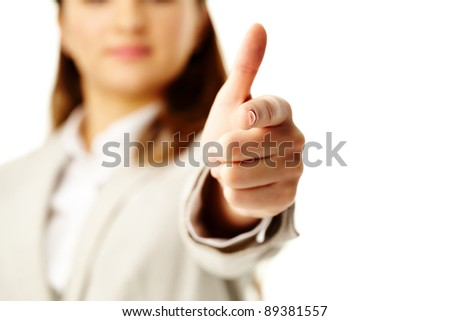 Photo of female hand with forefinger pointing at you - stock photo