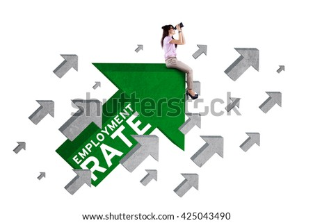 Photo of female work hunter sitting on the upward arrow sign with employment rate text and using binoculars, isolated on white background - stock photo