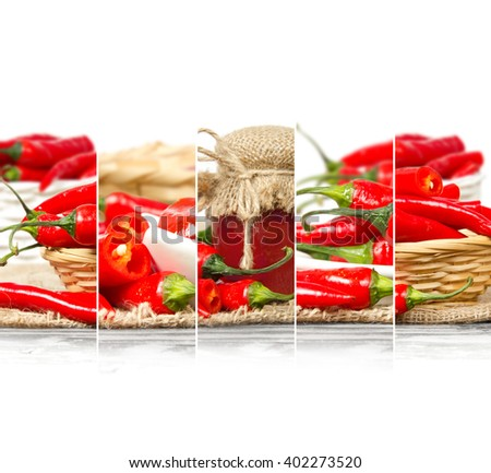 Photo of fresh chili pepper abstract mix in baskets and bowls with chili jam in a glass; healthy eating; white space for text - stock photo