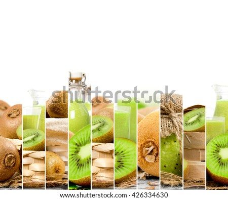 Photo of fresh kiwi abstract mix in baskets and bowls with juice and marmalade; healthy eating; white space for text