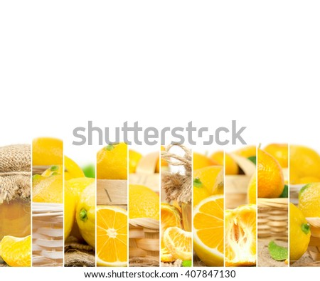 Photo of fresh lemon abstract mix in baskets and bowls with marmalade jar; healthy eating; white space for text - stock photo