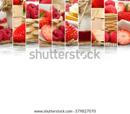 Photo of fresh strawberry and raspberry abstract mix in baskets and bowls with marmalade jar; healthy eating; white space for text - stock photo