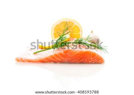 Photo of fresh tasty salmon over white isolated background - stock photo