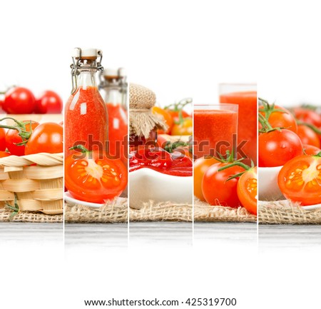 Photo of fresh tomato abstract mix in baskets and bowls with juice and marmalade; healthy eating; white space for text