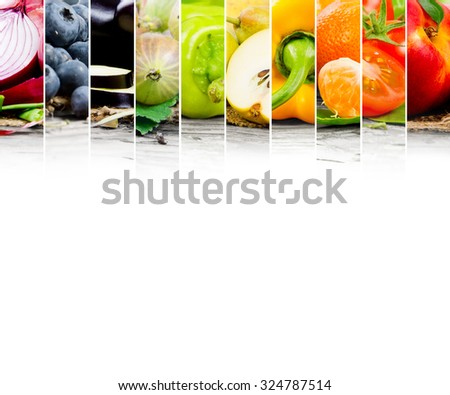 Photo of fruit and vegetable mix with rainbow colors and white space - stock photo
