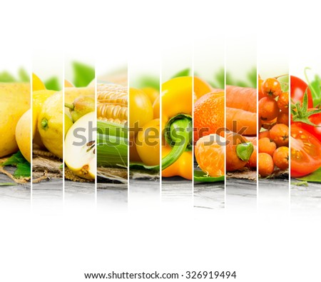 Photo of fruit and vegetable mix with yellow and orange colors and white space - stock photo