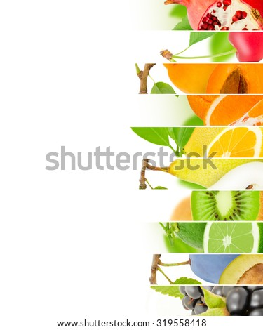 Photo of fruit mix with white space - stock photo