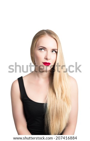 Photo of girl with long beautiful blonde hair. Isolated on a white background. - stock photo