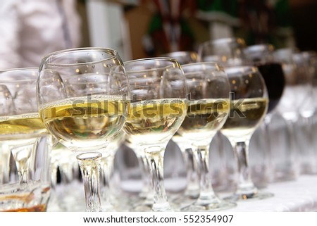 photo of Glasses of white wine at the Banquet
