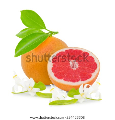 Photo of grapefruit with slice, leaves and blooms isolated on white - stock photo