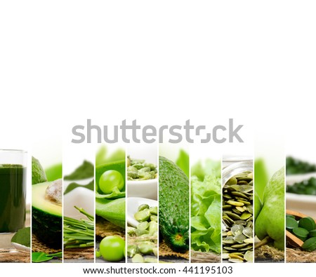 Photo of green vegetable, seeds and superfood abstract mix slices; healthy eating, dieting and detoxication concept; white space for text
