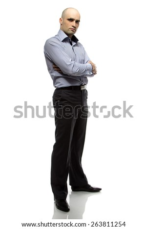 Photo of hairless business man full length on white background