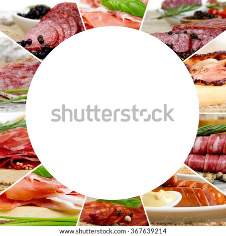 Photo of ham and salami mix with herbs and spice; circle shape, white space for text - stock photo
