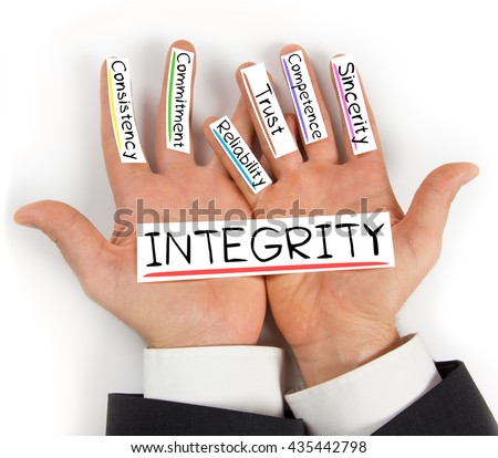 Photo of hands holding paper cards with INTEGRITY concept words - stock photo