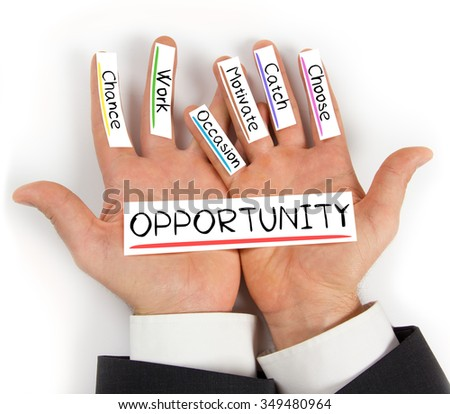Photo of hands holding paper cards with OPPORTUNITY concept words - stock photo