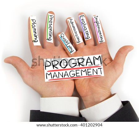 Photo of hands holding PROGRAM MANAGEMENT paper cards with concept words - stock photo