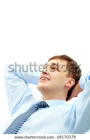 Photo of handsome businessman having short break - stock photo
