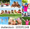 Photo of happy kids spending summer in active way - stock photo