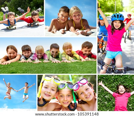 Photo of happy kids spending summer in active way
