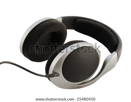 photo of headphones isolated on white background with clipping path