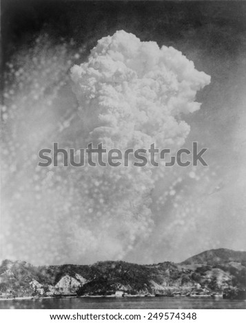 Photo of Hiroshima bomb explosion from a photo taken in Kure, Japan. August 6, 1945.