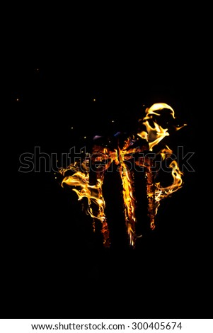 Photo of hot log with flame on black background